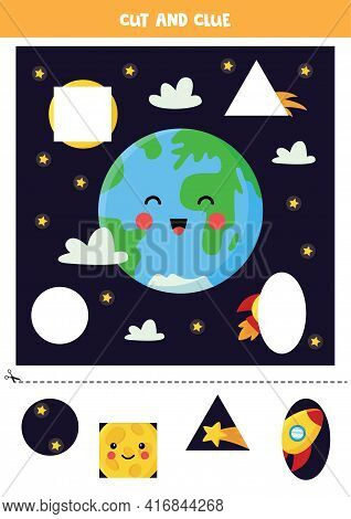 Cut And Glue Parts Of Picture. Outer Space. Cutting Practice For Preschoolers.