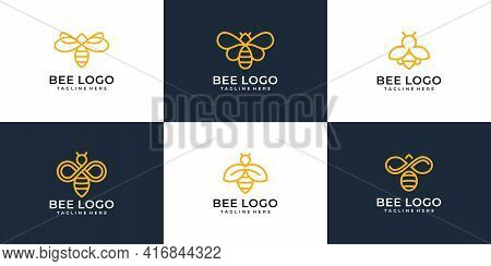 Set Of Modern Monogram Bee Logo Design Vector Concept Collection. Logo Can Be Used For Icon, Brand,