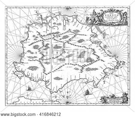 Map of Borneo, Covens and Mortier, vintage engraving.