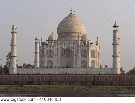 Afternoon View Of The North Side Of The Taj Mahal At Agra