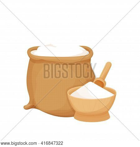 Rustic Bag, Wooden Bowl And Spoon With White Flour In Cartoon Flat Style Isolated On White Backgroun