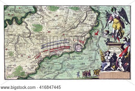 Map showing the order of battle of the troops at the Battle of Oudenaarde, vintage engraving.