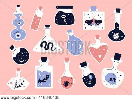 Doodle Witchcraft. Love Potions And Magician Occult Equipment, Cartoon Magic Shop Elements. Vector S