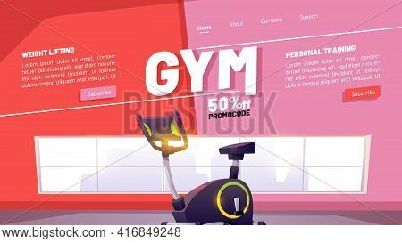 Gym Poster, Fitness Club And Online Workout. Concept Of Sport Training Program With Physical And Car