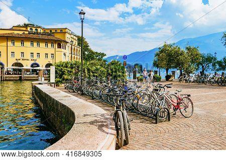 Riva Del Garda, Italy - September 16, 2019: Old Square Of Italian City Riva Del Garda.