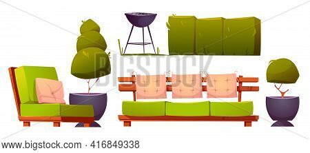 Furniture For Backyard Or Patio With Cooking Grill For Bbq. Barbeque Party On Back Yard Or Terrace.
