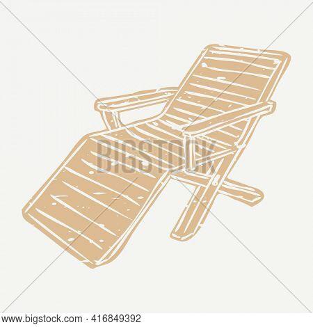 Brown beach chair linocut in cute illustration