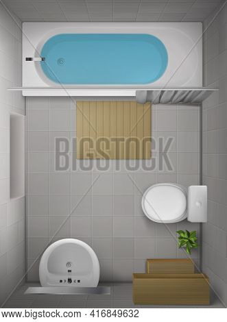 Bathroom Interior Top View, Room With Bathtub Full Of Water, Toilet Bowl, Ceramic Sink With Mirror,