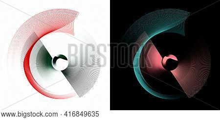 Red, Green, Turquoise Transparent Airy Abstract Propeller Elements Rotate On White And Black Backgro