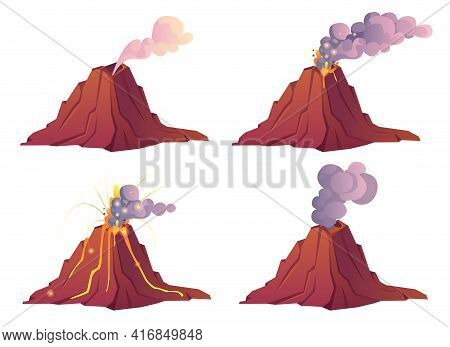 Volcanic Eruption Stages. Volcano Erupts With Hot Lava, Fire And Clouds Of Smoke, Ash And Gases. Vec