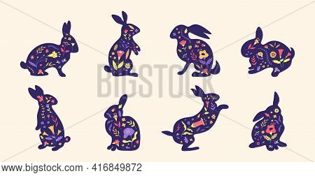 Easter Bunny. Cartoon Rabbit Silhouette With Spring Flowers Grass And Leaves, Hand Drawn Rabbit Grap