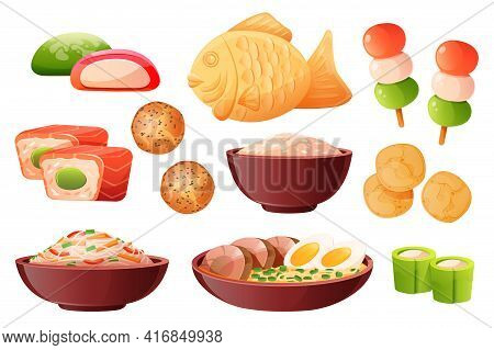 Rice In Bowl, Soup Ramen With Noodles And Eggs. Traditional Japanese Food Cooked From Rice. Vector C