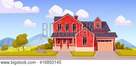 Suburban House, Residential Cottage, Real Estate Countryside Building Red Brick Exterior. Two Storey