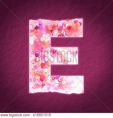 Glittery letter E with sequin texture illustration