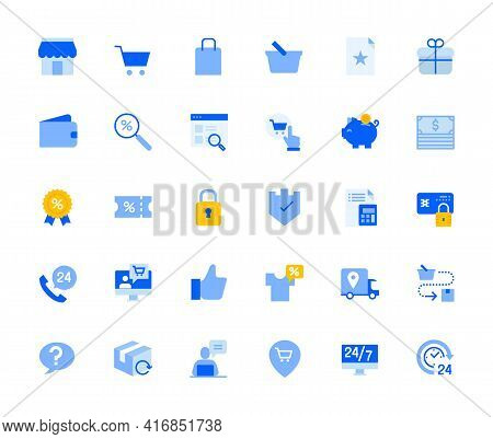 Shopping And E-commerce Icons Set For Personal And Business Use. Vector Illustration Icons For Graph