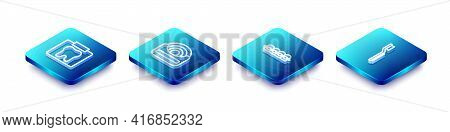 Set Isometric Line X-ray Of Tooth, Dental Floss, Teeth With Braces And Toothbrush Icon. Vector