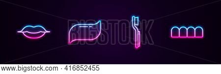 Set Line Smiling Lips, Toothpaste, Toothbrush And Dentures Model. Glowing Neon Icon. Vector