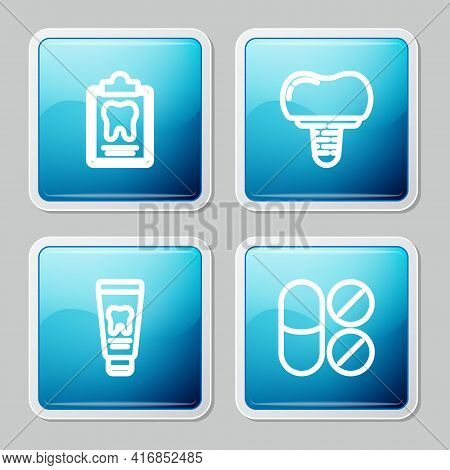 Set Line Dental Card, Implant, Tube Of Toothpaste And Painkiller Tablet Icon. Vector