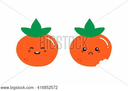 Couple Of Cartoon Style Orange Persimmon Characters Cute And Smiling And Sad With Bite Mark.