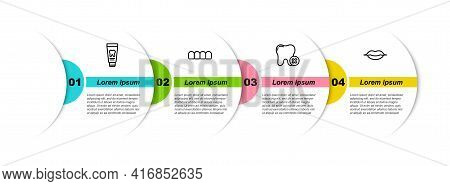 Set Line Tube Of Toothpaste, Dentures Model, Tooth With Caries And Smiling Lips. Business Infographi