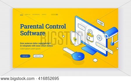 Parental Control Software. Isometric Vector Landing Page Template With Blue Elements Of Surveillance