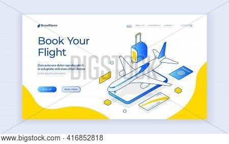 Book Your Flight. Vector Banner Of Contemporary Website With Icons Of Mobile Phone And Airplane With