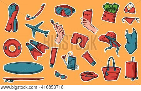 A Large Set Of Items For Travel And Vacation. Off The Sea. Swimming Items. Stickers. Collection Of I