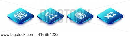 Set Isometric Line Movie Spotlight, Megaphone, 8k Ultra Hd And Director Movie Chair Icon. Vector