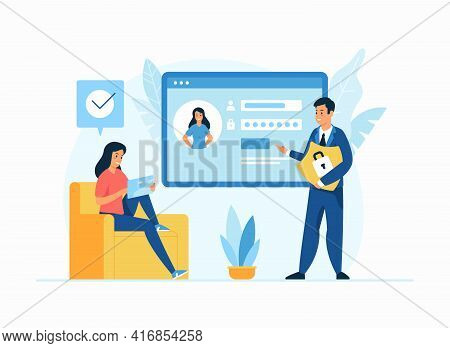 Internet Security, Personal Data Protection Flat Illustration. Male Cartoon Character Holding Shield