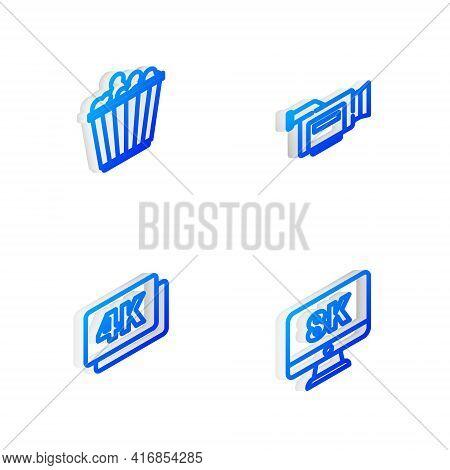 Set Isometric Line Cinema Camera, Popcorn Box, 4k Ultra Hd And Monitor With 8k Icon. Vector