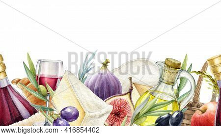 Gastronomy Mediterranean Seamless Border. Cheese, Wine, Fig, Olive, Grapes Endless Decoration. Water