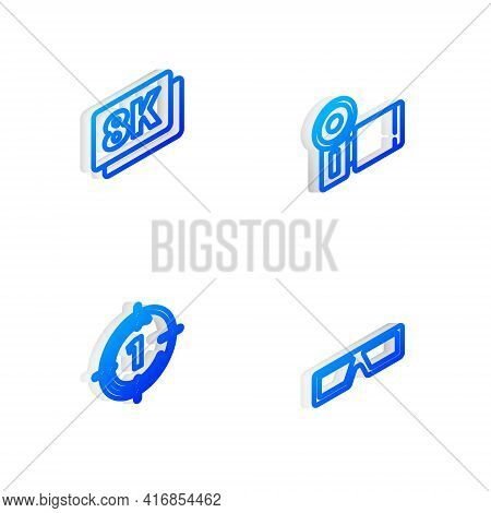 Set Isometric Line Cinema Camera, 8k Ultra Hd, Old Film Movie Countdown Frame And 3d Cinema Glasses