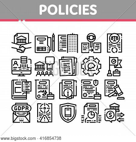 Policies Data Process Collection Icons Set Vector. Document And Paper, Contract And Strategy, Law An