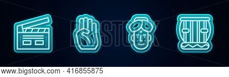 Set Line Bollywood Indian Cinema, Indian Symbol Hand, Man And Instrument Tabla. Glowing Neon Icon. V