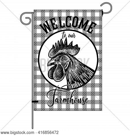 Farm Flag With Poultry. Welcome To Our Farmhouse. Rooster Head Close Up. Farm Bird In Lumberjack Pla