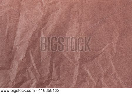 Coffee Color Creased Paper Tissue Background Texture, Wrinkled Tissue Paper Texture