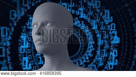Composition of human digital head over blue binary coding processing. global technology, digital interface and data processing concept digitally generated image.
