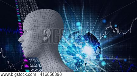 Composition of human digital head over glowing globe with network of connections and binary coding. global technology, digital interface and data processing concept digitally generated image.