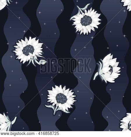 Vector Abstract Sunflowers On Loose Space Themed Stripes Seamless Pattern Background. Perfect For Fa