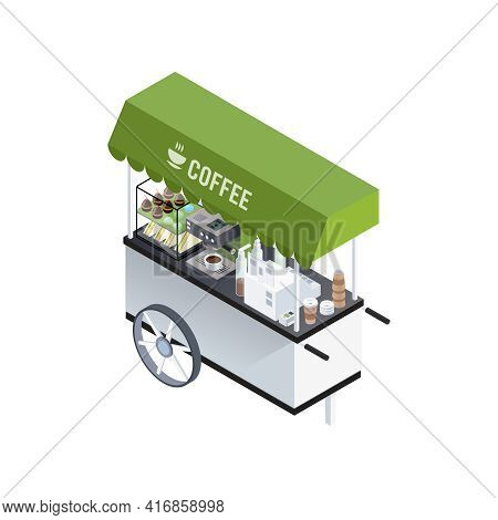 Mobile Coffee Kiosk Composition With Isometric Image Of Coffee Cart With Coffee Machine Sandwiches A