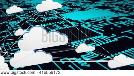 Composition of network of digital cloud icons over processor circuit board. global technology, digital interface and data processing concept digitally generated image.