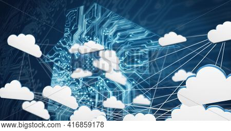 Composition of cloud digital icons over house formed with processor circuit board. global technology, digital interface and data processing concept digitally generated image.