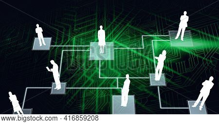 Composition of network with people digital icons over processor circuit board. global technology, digital interface and data processing concept digitally generated image.