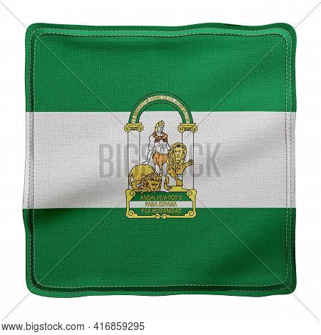 3d Rendering Of A Silked Andalucia Spanish Community Flag On A White Background