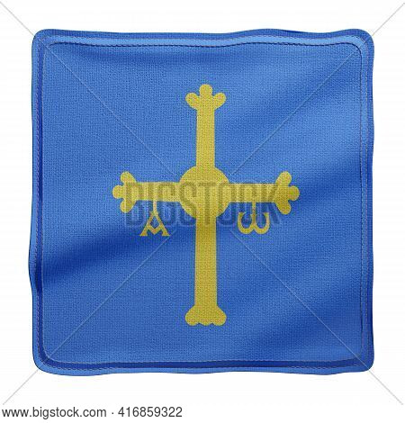 3d Rendering Of A Silked Asturias Spanish Community Flag On A White Background