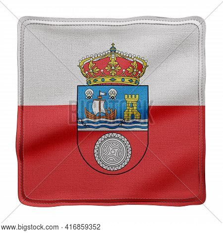 3d Rendering Of A Silked Cantabria Spanish Community Flag On A White Background