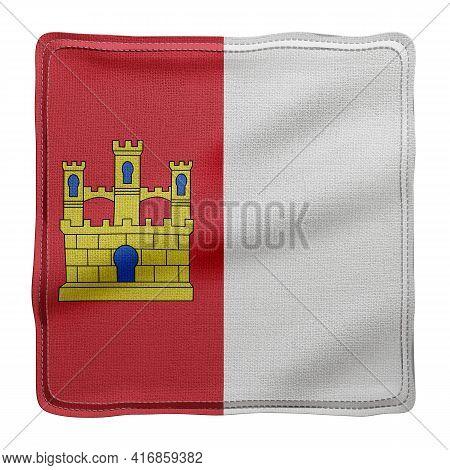 3d Rendering Of A Silked Castilla La Mancha Spanish Community Flag On A White Background