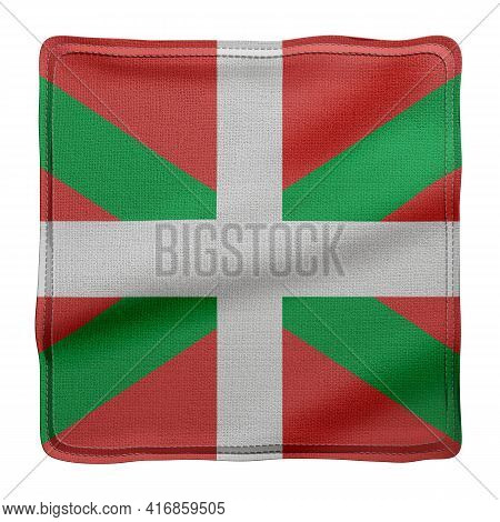 3d Rendering Of A Silked Basque Country Spanish Community Flag On A White Background