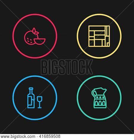 Set Line Wine Bottle With Glass, Sangria Pitcher, House Edificio Mirador And Orange Fruit Icon. Vect