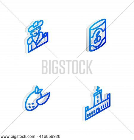 Set Isometric Line Olives In Can, Bullfight, Matador, Orange Fruit And Montjuic Castle Icon. Vector